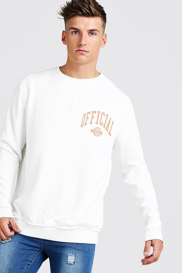 Mens Ecru Official Print Oversized Sweatshirt
