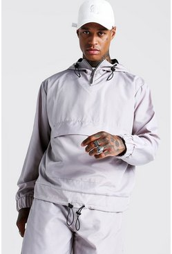 Herr Stone Placement Print Over The Head Cagoule
