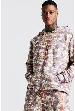 Mens Desert Camo Washed Oversized Hoodie