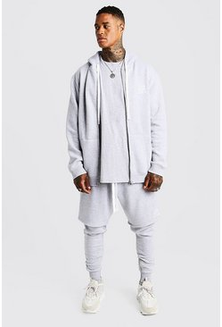 Mens Grey MAN Aesthetics Longline Zip Through Hoodie
