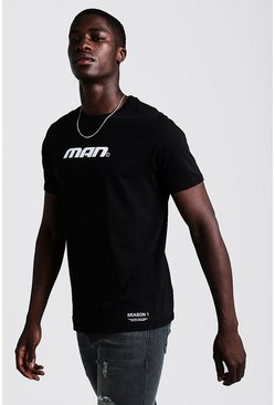 Mens Black MAN Season 1 T-Shirt