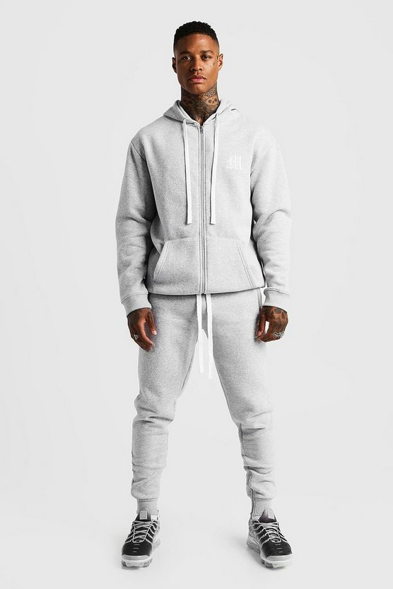 Mens Grey MAN Aesthetics Skinny Joggers With Zips