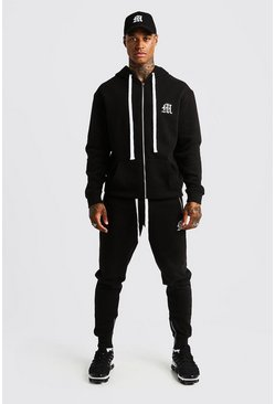 Herr Black MAN Aesthetic Skinny Joggers With Zips