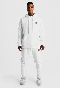 Mens White MAN Aesthetics Heavy Weight Hoodie With Zips