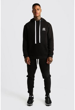 Mens Black MAN Aesthetics Heavy Weight Hoodie With Zips