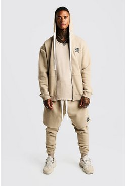 Herr Taupe MAN Aesthetics Longline Zip Through Hoodie