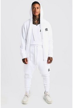Herr White MAN Aesthetics Longline Zip Through Hoodie