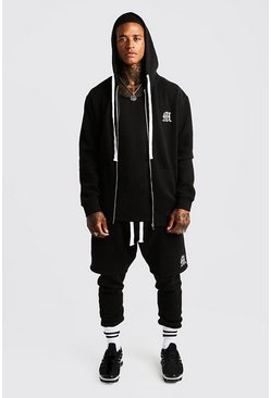 Mens Black MAN Aesthetics Longline Zip Through Hoodie