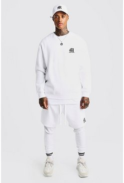 Mens White MAN Aesthetics Slim Fit Joggers