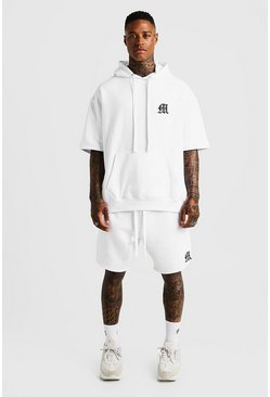 Mens White MAN Aesthetics Loose Fit Short