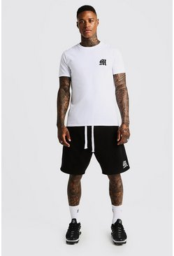 Mens Black MAN Aesthetics Loose Fit Short