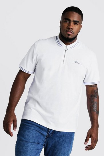 Mens White Big & Tall MAN Zip Through Polo With Tipping