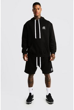 Mens Black MAN Aesthetics Oversized Short Tracksuit