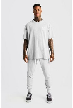 Mens Grey MAN Aesthetics Oversized Drop Shoulder T-Shirt