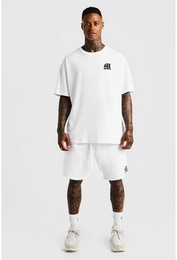 Mens White MAN Aesthetics Oversized Drop Shoulder T-Shirt