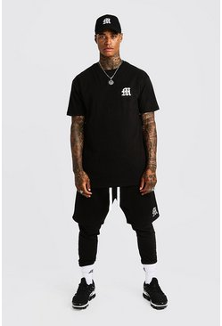 Mens Black MAN Aesthetics Longline Drop Shoulder T-Shirt