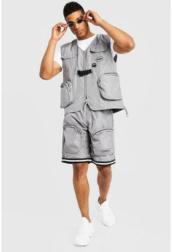Mens Grey Utility Vest & Shorts Set