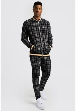Mens Black Textured Check Smart Bomber Tracksuit