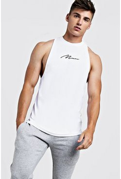 Mens White MAN Signature Racer Back Tank