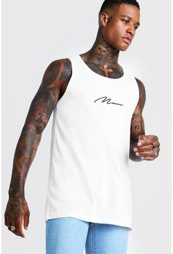 Mens White MAN Signature Longline Vest