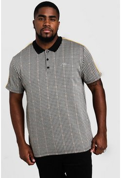 Big & Tall polo a quadri con firma MAN, Nero, Maschio