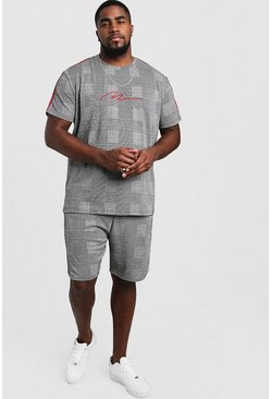 Mens Grey Big & Tall MAN Signature T-Shirt & Short Set