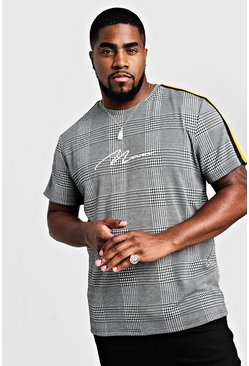 Mens Grey Big & Tall Check MAN Signature T-Shirt With Tape