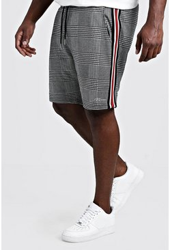 Mens Grey Big & Tall MAN Signature Shorts With Side Tape