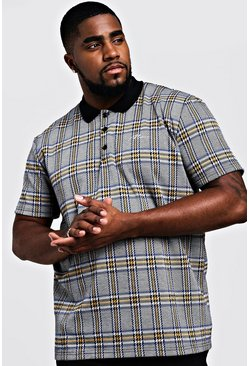 Herr Grey Big & Tall MAN Signature Check Polo