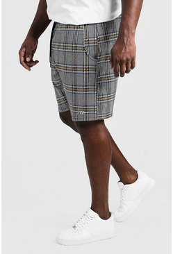 Mens Grey Big & Tall MAN Signature Check Shorts