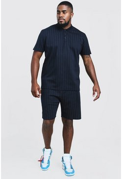 Mens Navy Big & Tall Stripe Polo & Short Set