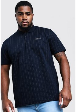 Mens Navy Big & Tall MAN Signature Stripe Polo