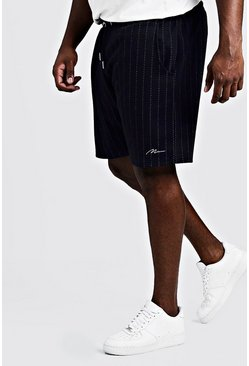 Navy Big & Tall Signature Stripe Short