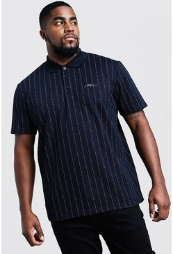 Big & Tall polo a righe con firma MAN, Nero, Maschio