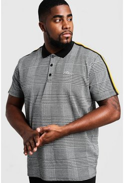 Mens Grey Big & Tall Check MAN Polo With Side Tape