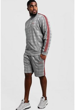 Mens Grey Big & Tall MAN Signature Funnel Neck Tracksuit