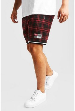 Mens Red Big & Tall Tartan Shorts With Sport Detail