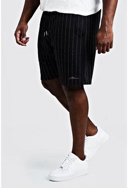 Black Big & Tall Stripe Shorts With MAN Signature