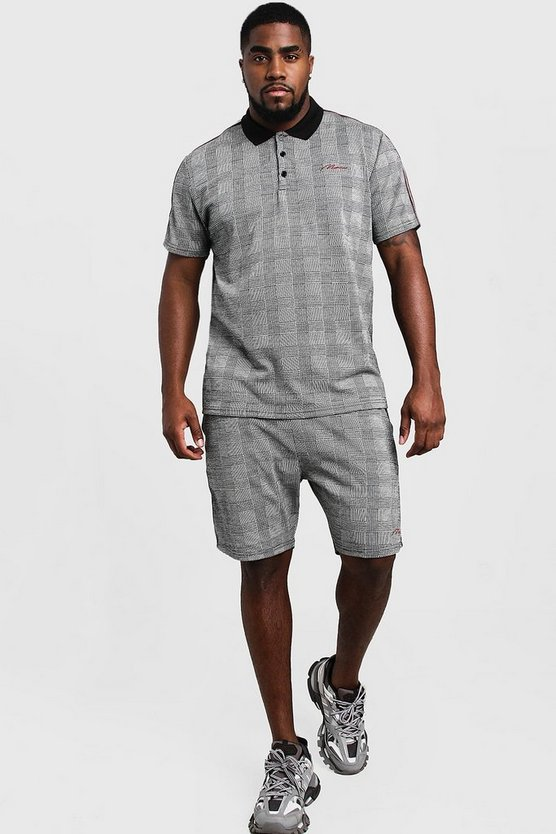 Grey Big & Tall Check MAN Signature Polo Short Set