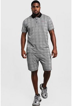 Mens Grey Big & Tall Check MAN Signature Polo Short Set