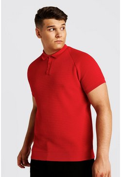 Big And Tall polo raglan lavorata all'uncinetto, Rosso, Maschio