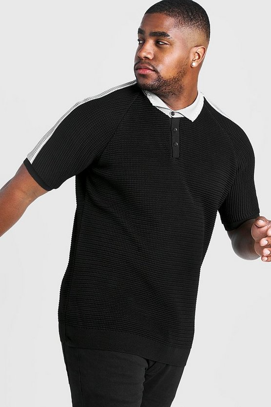 Black Big And Tall Raglan Knitted Polo With MAN Collar