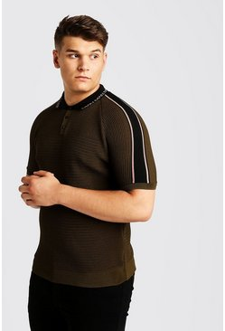 Mens Khaki Big And Tall Raglan Knitted Polo With MAN Collar