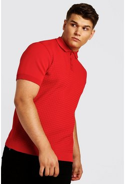 Big and Tall Polo de punto, Rojo, Hombre