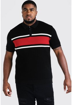 Mens Red Big And Tall Knitted Colour Block Polo