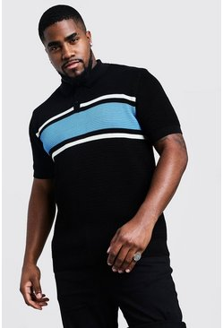 Blue Big And Tall Knitted Colour Block Polo