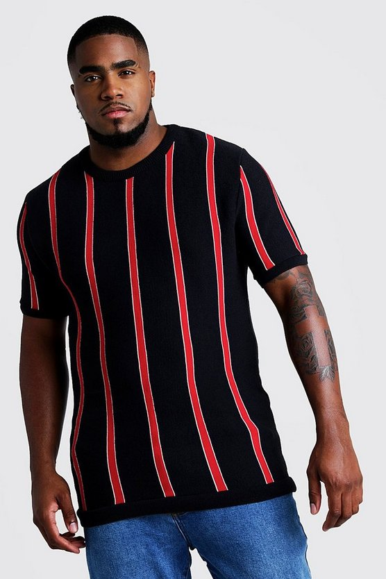 Red Big & Tall Short Sleeve Striped Knitted T-Shirt