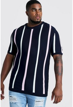 Herr Navy Big & Tall Short Sleeve Striped Knitted T-Shirt