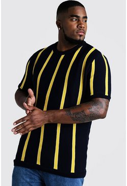 Herr Yellow Big & Tall Short Sleeve Striped Knitted T-Shirt