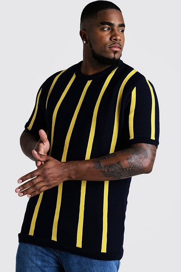Mens Yellow Big & Tall Short Sleeve Striped Knitted T-Shirt
